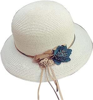 Straw Hat Beach Hat Round Cap Summer Shade Sunscreen Ladies Caps(White)