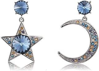 Crystal Dangle Earrings Moon and Star Asymmetric Drop Earrings for Women, Crystal from Swarovski