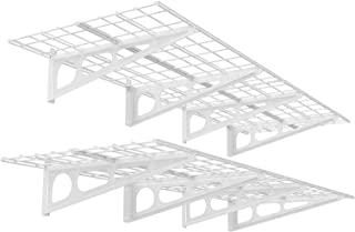 FLEXIMOUNTS 2-Pack 2x6ft 24-inch-by-72-inch Wall Shelf Garage Storage Rack Floating Shelves, White