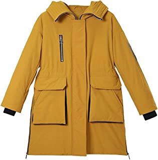 ZYDP Winter Fashion Front Two Pocket Hooded Long Down Jacket for Women Outwear Warm Coat (Color : Yellow, Size : XL)