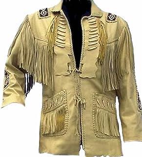 coolhides Men's Cowboy Original Leather Jacket, Beaded, Bones & Fringes