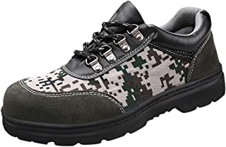 FraftO Men's Labor Insurance Shoes Puncture Safety Shoes Lightweight Steel Baotou Camouflage Outdoor Work Shoes Slip Resistant