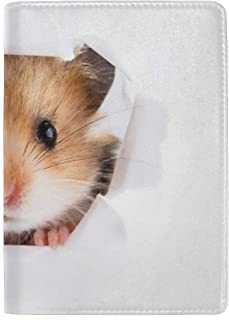 Cute Domestic Hamster Blocking Print Passport Holder Cover Case Travel Luggage Passport Wallet Card Holder Made with Leather for Men Women Kids Family