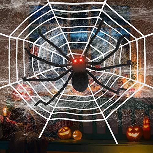 Charlemain Ragno di Halloween 49 inch, Ragno Gigante Halloween, 20 Ragni di Plastica, Ragnatela di 200 Piedi Quadrati e Ragnatela di Corda da 12 Piedi