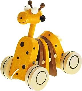 Bino & Mertens 90987 färgglad dragdjursgiraff, rolig leksak av trä. Förbättrar giraff och passar de små i de första stege...