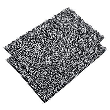 VDOMUS Absorbent Microfiber Bath Mat Soft Shaggy Bathroom Mats Shower Rugs - 2 Pieces (Gray)