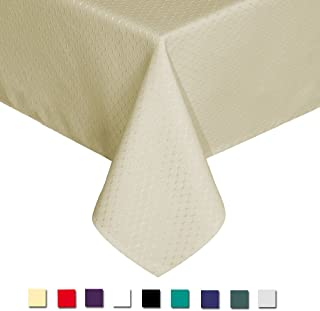 Eforcurtain Elegant Waffle Polyester Table Cover Rectangle Tablecloth Stain Resistant/Spill-proof/Waterproof, Light Beige, 60-inch By 102-inch