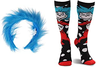elope Dr. Seuss Thing 1&2 Fuzzy Headband and Costume Socks Kit Bundle