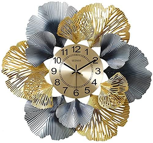 Decoraciones de pared, Reloj de pared de arte de pared de metal, hierro forjado Decoraciones de hoja de ginkgo de mute Relojes de precisión de cuarzo para sala de estar Oficina de la sala Escultura cr