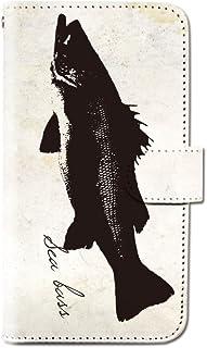 CANCER by CREE 手帳型 ケース FREETEL SAMURAI MIYABI 魚拓 釣り 魚 和 さかな スマホ カバー dt001-00081-04 (4)スズキ FREETEL miyabi(雅):M