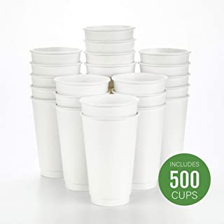 500-CT Disposable White 16-oz Hot Beverage Cups with Double Wall Design: No Need for Sleeves - Perfect for Cafes - Eco Friendly Recyclable Paper - Insulated - Wholesale Takeout Coffee Cup