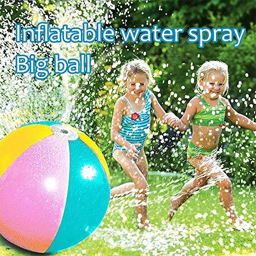 Zdcdy Wassersprühball für Kinder, 60 cm aufblasbarer Sprinkler Beach Ball im Freiem, Aufblasbares Wassersprühspielzeug für den Außenbereich Garten Rasen