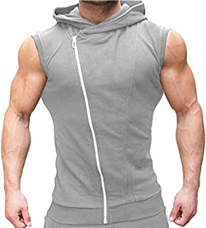COOFANDY Men's Sleeveless Hoodie Workout Tank Top Zipper Bodybuilding Muscle Cut Off T Shirt Gym Hoodies