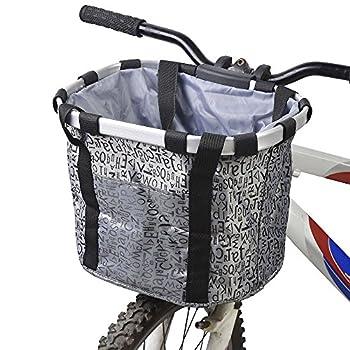 Redlution Panier pour avant de vélo amovible en toile, panier de transport pour animal domestique, cadre en alliage d'aluminium, Argenté.