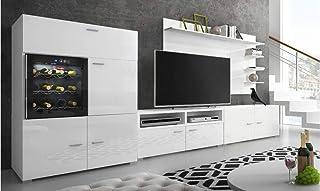 SelectionHome - Mueble salón Comedor con vinoteca Acabado Blanco Mate y Blanco Brillo Lacado Medidas: 295 x 57/40 x 175 ...