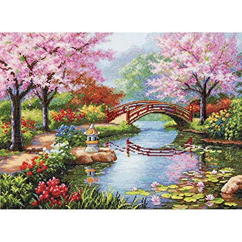 Dimensions Gold Collection Counted Cross Stitch Kit, Japanese Flower Garden, 16 Count Light Blue Aida, 12