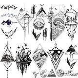 LAROI 10 Blätter Groß Gebirge Temporäre Tattoos für Frauen Männer Körper Wald Tattoos Temporär Skizze Arm Geometrisches Dreieck Realistische gefälschte schwarze Tattoos Aufkleber groß Meereswellen