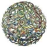 Global Crafts Vier Colorful Geckos Handbemalt Metall Art