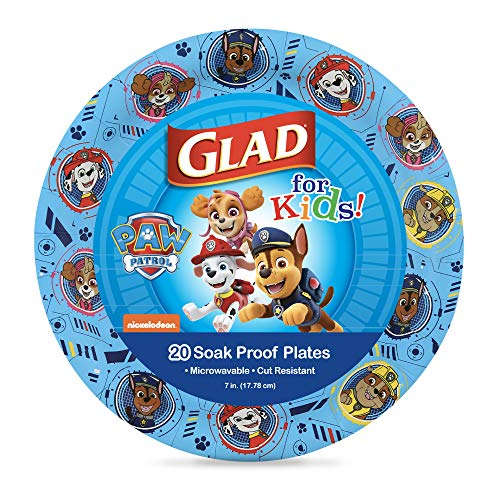 Glad for Kids Paw Patrol Paper Plates   Disposable Paw Patrol Plates for Kids   Heavy Duty Disposable Soak Proof Microwavable Paper Plates, Core Pups Blue 7' Round Plates 20ct  Paw Patrol Birthday