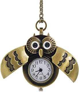 Lovely Bronze Owl Pocket Clock/Watch Pendant Necklace With Chain Quartz Watch Gift Idea