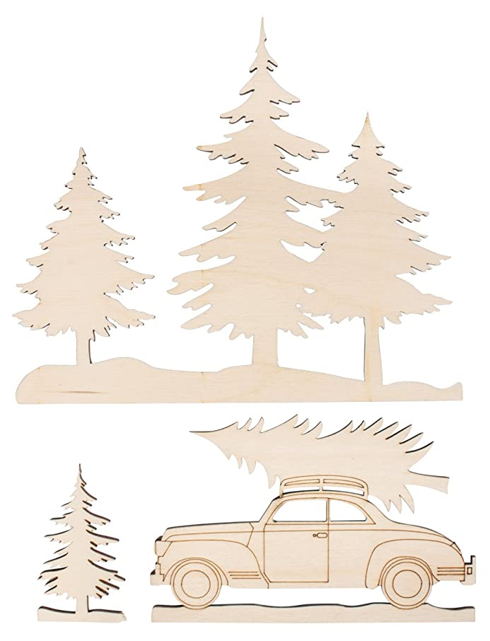 Rayher 46321000 Fir Tree and Car Wooden Shapes, Natural Wood Cutouts for Woodworks, Papercrafts and Decoration, 3 Piece Set