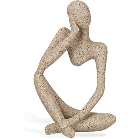 Ozzptuu Sandstone Resin Thinker Style Abstract Sculpture Statue Collectible Figurines Home Office Bookshelf Desktop Decor Style 2