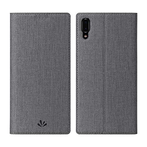 CRESEE Hülle Hülle für Sony Xperia L3, Handyhülle Leder Schutzhülle Flip Cover Bumper Standfunktion Kartenhalter Stoßfest Brieftasche Tasche für Xperia L3 (2019) Grau