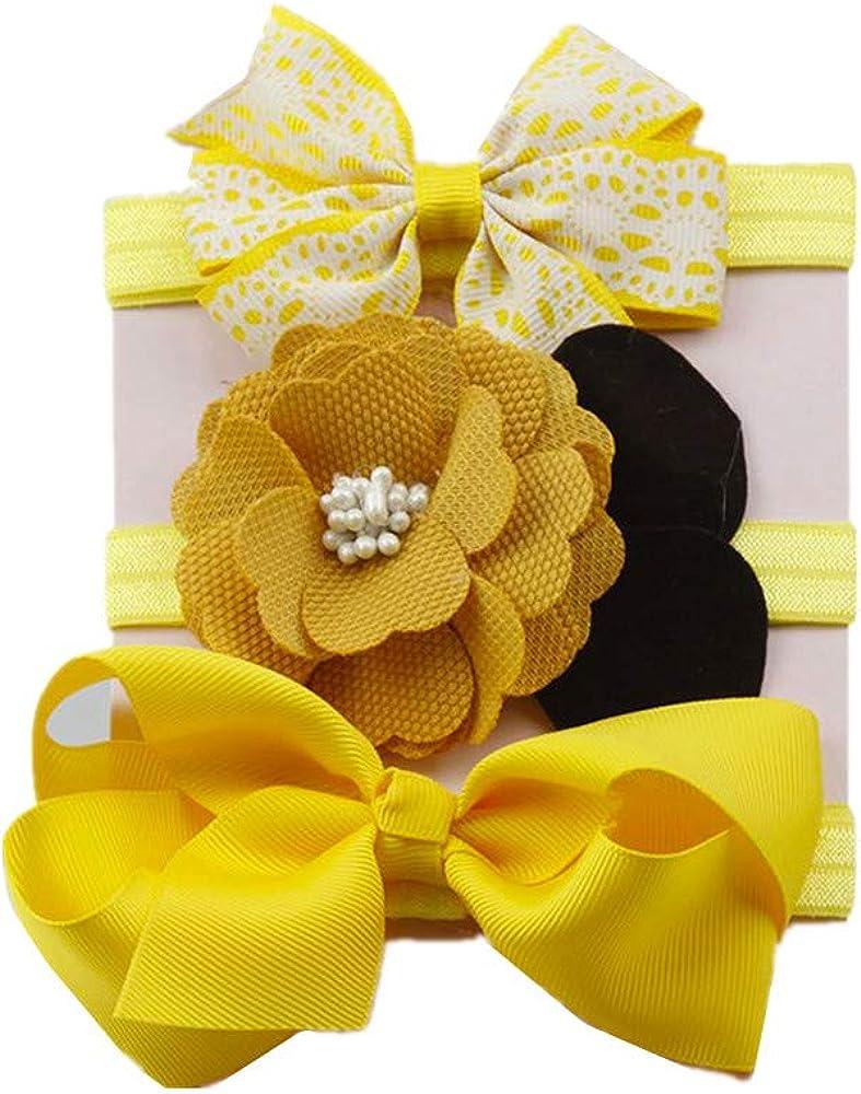 3Pcs Kids Elastic Floral Headband Baby Girls Cute Bowknot Hairband Newborn Baby Hair Accessories Turban Head Wraps Sets Beautiful Dress Up Head Band