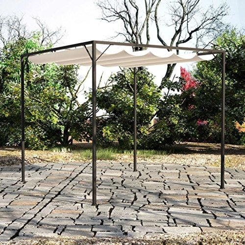 Tidyard Carpa de Jardín Techo Retráctil Cenador para Patio Tienda para Camping Fiesta Celebraciones Evento al Aire Libre Boda Fiest Barbacoa Acero 3x3x2,3m