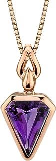14k Rose Gold Amethyst Chevron Cut Pendant (2.00 carat)