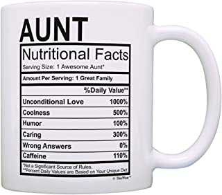 Mothers Day Gifts for Aunt Nutritional Facts Label Funny Gifts for Aunt Gag Gift Coffee Mug Tea Cup White