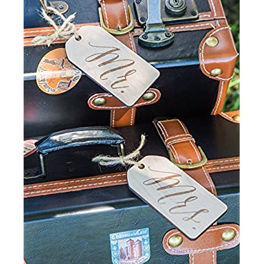 Mr and Mrs Luggage Tags for Honeymoon Suitcases - Tags for Luggage Wedding Gift for Bride and Groom
