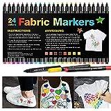 24 Rotuladores para Tela Permanentes-APOGO Marcadores Textiles Indelebles No Tóxicos para Niños Adultos Marcadores de Ropa para Camisetas Blancas, Jeans, Zapatos, Bolsas de Mano