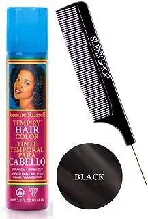 Jerome Russell TEMP-RY HAIR COLOR SPRAY, Temporary Aerosol Hairspray, Hair Color Dye Spray (w/Sleek Steel Pin Tail Comb) Spray On, Wash Out (BLACK - 2.2 oz / 65 ml)