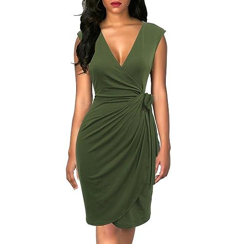 a64e9d9300d Berydress Women s Vintage V-Neck Sheath Casual Party Work Faux Black Wrap  Dress