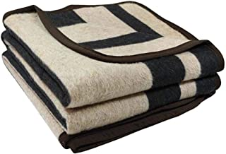Alpaca Sheep Wool Blanket King/Full-Queen/Twin Size Thick Heavyweight Camping Outdoors Striped Design (Black/Beige, King)