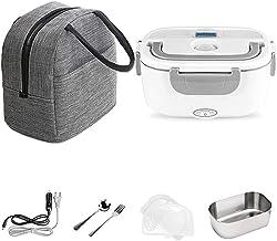 Lunch Box Chauffe-plat électrique portable en acier inoxydable, 2 en 1, pour voiture, bureau, maison, camping, avec sac is...
