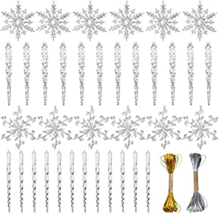 VGOODALL Christmas Snowflake Decorations,36pcs Icicles Ornaments Set Clear Snowflake Acrylic Christmas Ornaments for Santa Outdoor Party Decoration Craft Projects