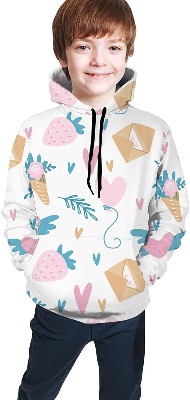 CWWAN Strawberry Love Teen Hooded Sweate Youth Hoodies Hooded Seatshirts Sweaters Boys Girls 18-20 Years