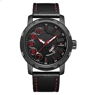 Naviforce 9154 B-R-B Leather Round Analog Watch for Men - Black