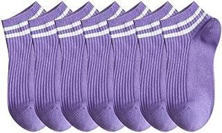 socks, Calcetines de siete pares de bocas bajas para mujer de primavera y verano, de corte bajo, lindos barcos finos (color morado)