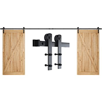 "SMARTSTANDARD 16ft Double Door Sliding Barn Door Hardware Kit - Smoothly and Quietly - Easy to Install - Includes Step-by-Step Installation Instruction -Fit 42""-48"" Wide Door Panel(I Shape Hanger)"