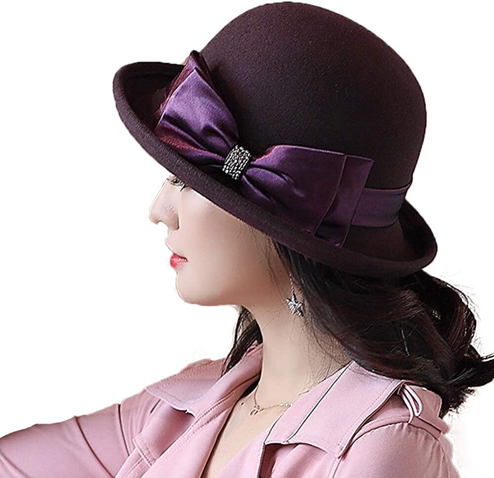 F FADVES Women Winter Wool Hats for Women 1920s Vintage Fedora Cloche Bowler Hat with Bow