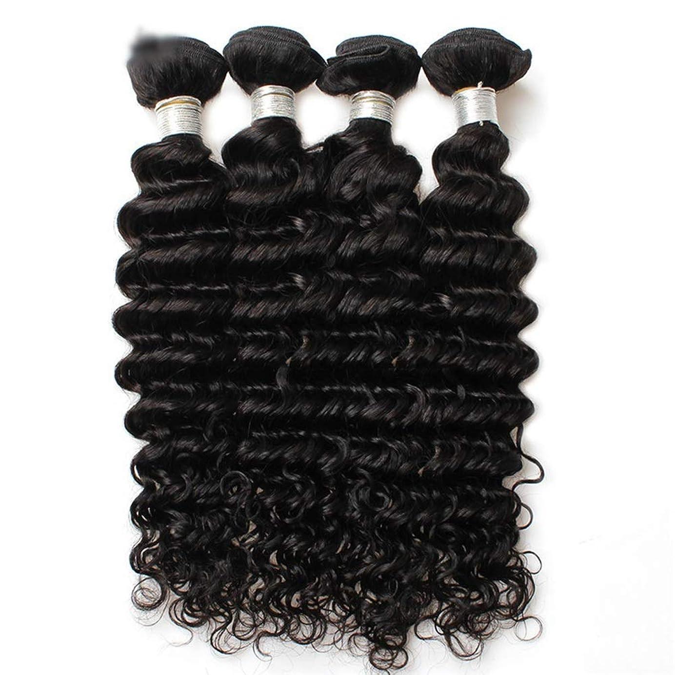 マオリ滑り台ドラマHOHYLLYA 7Aブラジルディープウェーブ人間の髪の束 - ナチュラルカラーヘアエクステンション(10
