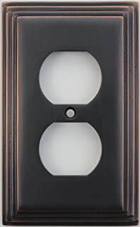 Deco Step Style Oil Rubbed Bronze 1 Gang Duplex Outlet Wall Plate