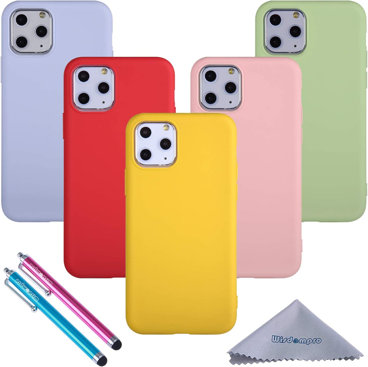 iPhone 11 Pro Case, Wisdompro Bundle of 5 Pack Extra Thin Slim Soft TPU Gel Protective Case Cover for 5.8 Inches Apple iPhone 11 Pro (Green, Light Blue, Pink, Yellow, Red)