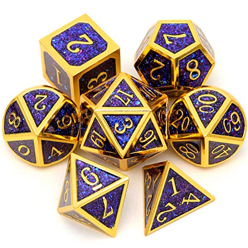 Conjunto de dados de metal Haxtec com glitter azul D&D ouro preto azul roxo DND dados poliédricos conjunto de dados de metal Dungeons and Dragons-ouro preto azul roxo glitter