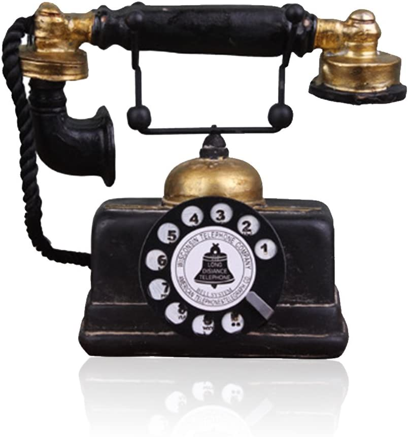 7 inch Creative Retro Telephones European Resin Rotary Dialing Telephone Decoration Cafe Bar Window Decorative Home Decoration Props (L: 7 1/4 inch X W: 3 1/8 inch X H: 6 1/4 inch)