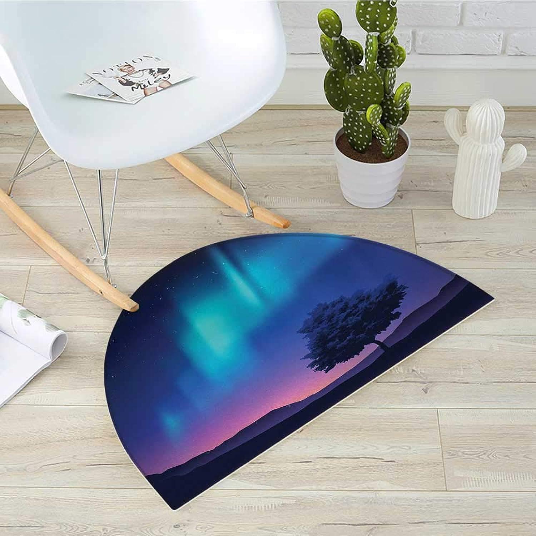 Fantasy Half Round Door mats The Aurora Borealis with A Tree in Arctic Region Magical Rare Sky Up View Print Bathroom Mat H 35.4  xD 53.1  bluee Purple