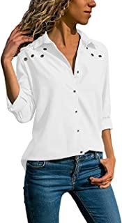 bc9fe8e9 DUJIE Camisas para Mujer, Blusa Mujer Elegante Camisetas Mujer Manga Larga Mujer  Blusa Cuello V